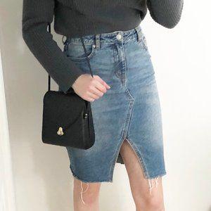Stunning High Rise Distressed Hem Denim Jean Skirt